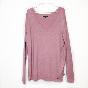 American Eagle Pink Knit V-Neck Sweater